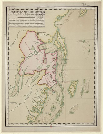 History of Belize - 1790 map of territory conceded to British settlers for cutting timber