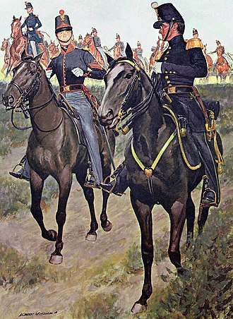 Yakima War - In a generic scene depicting a U.S. Army battery of light artillery in 1855, a first sergeant of the light artillery is shown in the left foreground in the new jacket issued for American mounted troops in 1854.