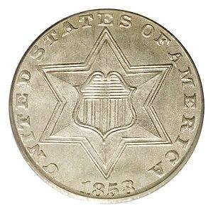 Three-cent silver - Image: 1858 3CS (obv)