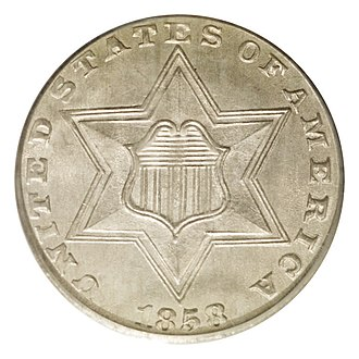 Three-cent silver - Image: 1858 3CS (obv)