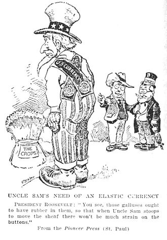 History of central banking in the United States - 1908 cartoon argued that elastic currency is needed