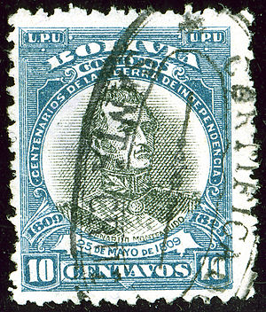 Bolivian War of Independence - 100 years of struggle for independence: 25 de Mayo de 1809 on a commemorative stamp.