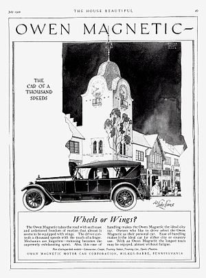 Petrol–electric transmission - Image: 1920 Owen Magnetic Touring Car ad
