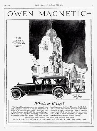 Petrol–electric transmission - Image: 1920 Owen Magnetic Touring Car ad