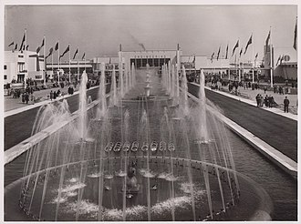 Empire Exhibition, Scotland - 1938 Empire Exhibition fountains centre in front of the Palace of Engineering in Bellahouston Park, Glasgow