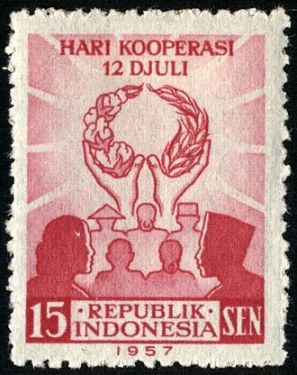 Postage stamps and postal history of Indonesia - A 1957 mint stamp of Indonesia.