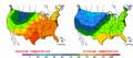 2002-10-02 Color Max-min Temperature Map NOAA.png