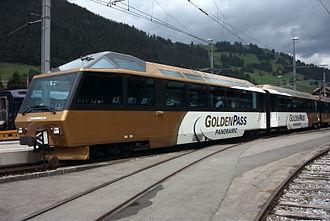 Montreux Oberland Bernois Railway - Ast 116 and Brs 228 at the head of a Montreux-bound train in Zweisimmen on 23 June 2004