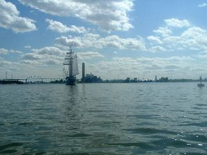 Green Bay (Lake Michigan) - A Tall ship sailing into the mouth of the Fox River