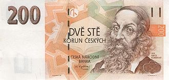 John Amos Comenius - Czech koruna banknote depicting Comenius