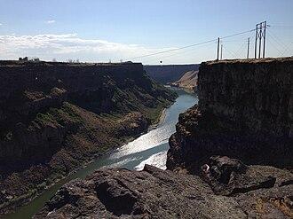 Snake River Canyon (Idaho) - Image: 2013 07 07 17 40 58 View west down the Snake River Canyon from just northwest of Shoshone Falls in Idaho