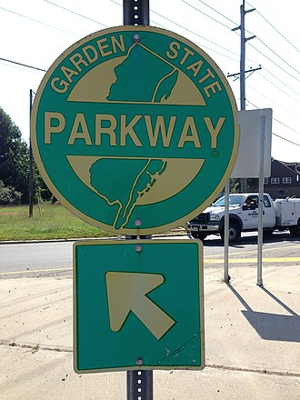 Garden State Parkway - A reassurance sign to the Parkway at the Red Lion Circle in Southampton Township, New Jersey.