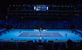 2014-11-12 2014 ATP World Tour Finals show court during Marin Cilic vs Thomas Berdych match 2 by Michael Frey.jpg
