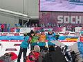 2014 WOG Biathlon Women Relay Flower Ceremony - Ukraine 05.JPG