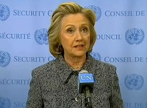 Hillary Clinton email controversy - Clinton addressing email controversy with the media at the UN Headquarters on March 10, 2015.
