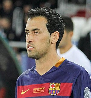Sergio Busquets - Busquets playing for Barcelona at the 2015 UEFA Super Cup