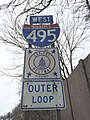 2016-01-22 09 46 37 Route shield and trailblazer along the westbound outer loop of the Capital Beltway (Interstate 495) just west of Exit 30 in Kemp Mill, Montgomery County, Maryland.jpg