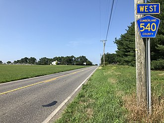 County Route 540 (New Jersey) - View west along CR 540 at CR 723 in Hopewell Township