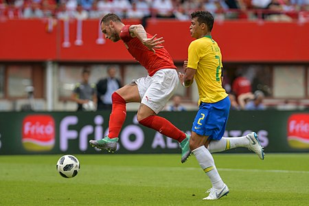 20180610 FIFA Friendly Match Austria vs. Brazil Arnautović Thiago Silva 850 2032.jpg