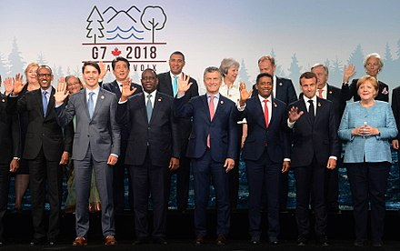 Bangladeshi Prime Minister Sheikh Hasina (second from left on back row) with leaders of the G7 industrialised countries and other invitees during the 44th G7 summit in La Malbaie, Canada 44th G7 summit Photo.jpg