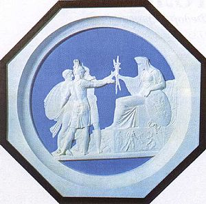 """Fyodor Petrovich Tolstoy - In his colored wax medallion People's militia of 1812 (1816), Tolstoy owes a debt to David's """"Oath of the Horatii"""" and to the ceramics of Josiah Wedgwood."""