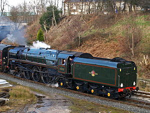 BR Standard Class 8 - 71000 Duke of Gloucester on the East Lancashire Railway. Note British Caprotti valve gear.