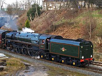 BR Standard Class 8 - 71000 Duke of Gloucester on the East Lancashire Railway. Note British Caprotti valve gear.