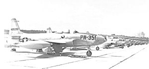 71st Fighter Squadron Lockheed P-80s March AFB 1948.jpg