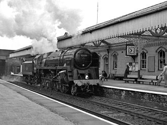 BR Standard Class 9F 92220 Evening Star - 92220 passes through Northwich station to the National Railway Museum on 21 May 1983