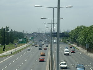 A13 road (England) - Newham Way looking west between A406 and A117 junctions (the latter just ahead)
