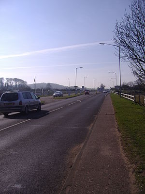 A149 road - The road at Heacham looking back towards the so-called Lavendar Junction