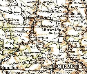 Lage der Amtshauptmannschaft Rochlitz 1895