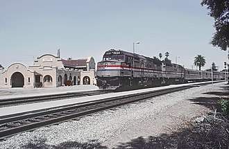 Davis station (California) - Amtrak Coast Starlight at Davis in August 1985