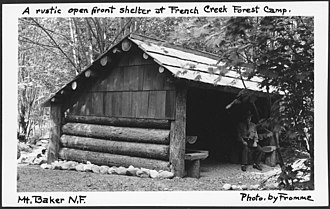 Mount Baker National Forest - Image: A Rustic Open Front Shelter at French Creek Forest Camp, Mount Baker National Forest, 1936. NARA 299080