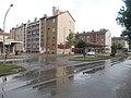 A posta és sgraffittós homlokzatú házak a Rákóczi Ferenc úton, 2018 Oroszlány.jpg