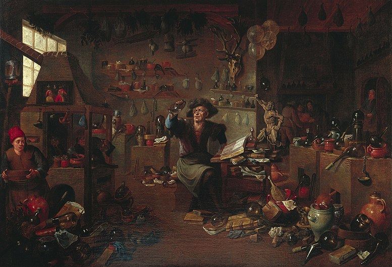 A savant in his cabinet, surrounded by chemical and other ap Wellcome L0032826.jpg