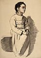 A woman diagnosed as suffering from melancholia. Lithograph, Wellcome L0026692.jpg