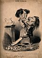 A woman reaches down into a man's throat to pull out another tooth Wellcome V0011763.jpg