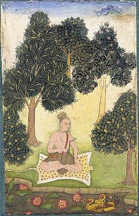 Yogi assis dans un jardin.