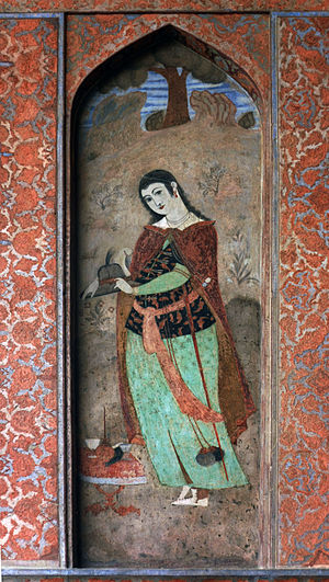 Ālī Qāpū - Fresco from the portico of the palace, depicting a Persian woman