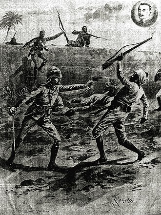 Anglo-Manipur War - Image: Action by Lt CJW Grant, VC, 1891