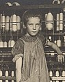 """Addie Card, 12 years. Spinner in North Pownal Cotton Mill. Girls in mill say she is ten years. She admitted to me she was twelve; that she started during school vacation and now would """"stay"""". Location- Vermont MET DP237967 (cropped).jpg"""