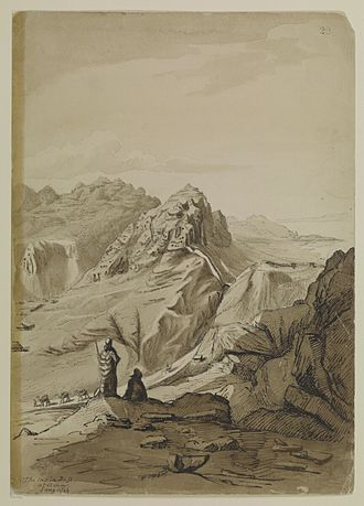 Henry Yule - The main pass, Aden by Yule, drawn in January 1844 during his return journey to India.
