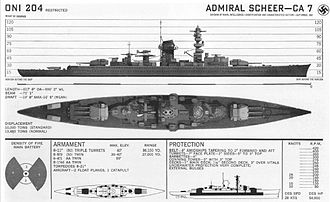 German cruiser Admiral Graf Spee - Recognition drawing of a Deutschland-class cruiser