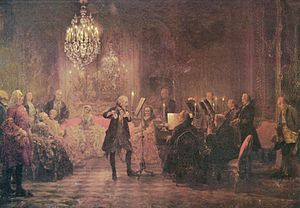 The Flute Concert of Sanssouci by Adolph von Menzel, 1852, depicts Frederick playing the flute in his music room at Sanssouci.