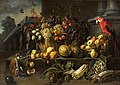 Adriaen van Utrecht – Still life with fruits, vegetables, a monkey and a parrot in a garden.jpg