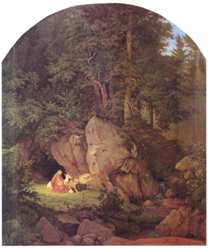 Genevieve of Brabant - Genoveva in the Forest Seclusion by Adrian Ludwig Richter