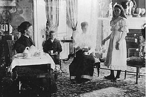 Ada Crossley - Afternoon Tea at the Brookmans, c.1895. (Edwin Tce, Gilberton, SA), L-to-R: Mrs. George Brookman, Norman Brookman, Miss Ada Crossley and May Brookman