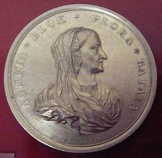 Agnes Block - Agneta Blok as Flora Batava on a commemorative medal by Jan Boskam, 1700