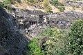 Ajanta Caves, India, Panoramic view of Ajanta basalt cliffs and caves.jpg